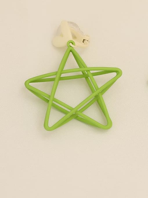 Green [ear clip] Copper Enamel Star Minimalist Stud Earring